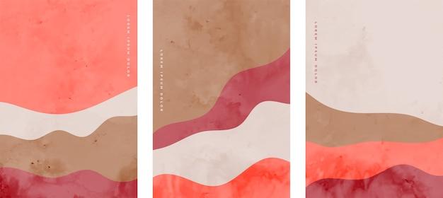 Conjunto de panfletos de onda abstratos minimalistas pintados à mão