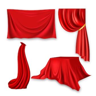 Conjunto de pano de seda vermelho. forma de ondulação de pano de tecido