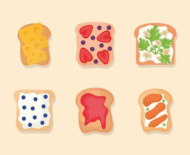 Conjunto de pão com coisas em cima em um fundo bege
