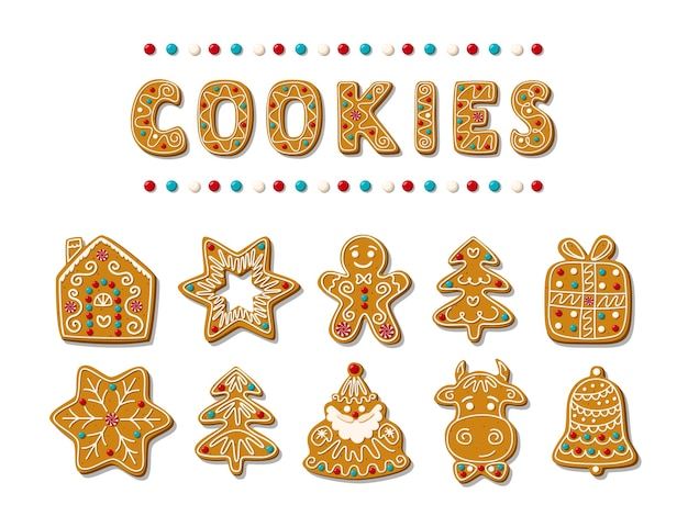 Conjunto de pão de mel de natal. doces caseiros festivos. papai noel, homem-biscoito, árvore de natal, touro, sino, ctar, casa. ilustração