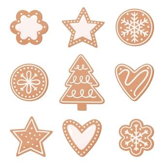 Conjunto de pão de mel de natal. ilustração em vetor em um estilo simples em um fundo branco.