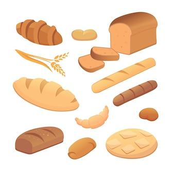 Conjunto de pão dos desenhos animados