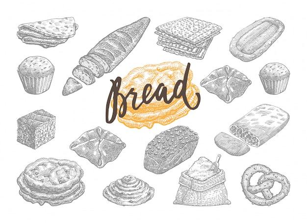Conjunto de pão e pastelaria desenhado à mão