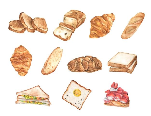 Conjunto de pão em aquarela. diferentes tipos de pão. ilustração de alimentos orgânicos.