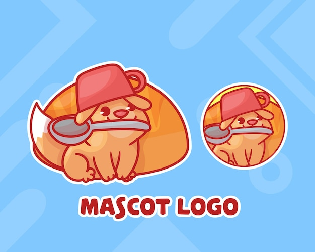 Conjunto de pão fofo com logotipo de mascote de cachorro