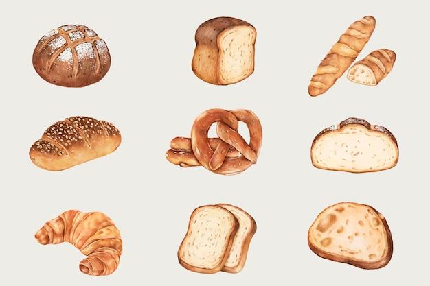 Conjunto de pão fresco desenhado à mão