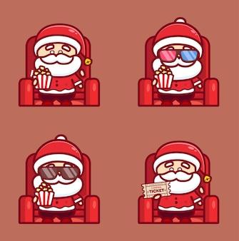 Conjunto de papai noel assistindo filme de natal no cinema e segurando pipoca