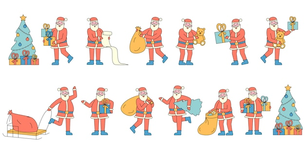 Conjunto de papai noel com presentes plana charers. pessoas vestindo trajes vermelhos de natal.