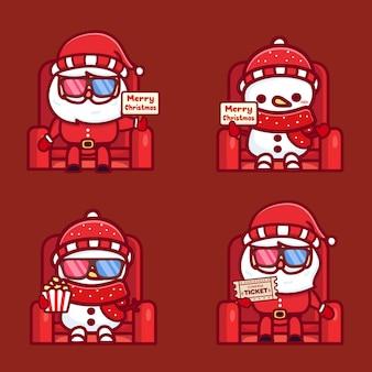Conjunto de papai noel fofo e boneco de neve assistindo filme de natal no cinema usando óculos 3d, pipoca de espera e ingresso.