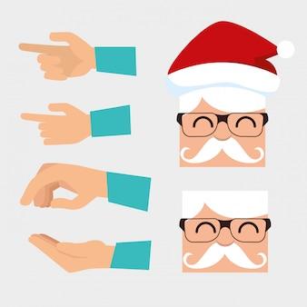 Conjunto de papai noel usando óculos e mãos