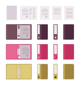 Conjunto de papéis, arquivos e pastas