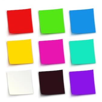 Conjunto de papéis coloridos