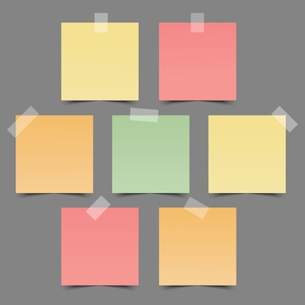 Conjunto de papéis de nota coloridos