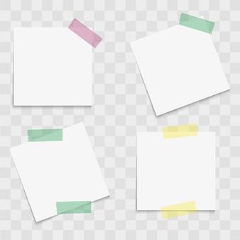 Conjunto de papéis de nota com fitas adesivas