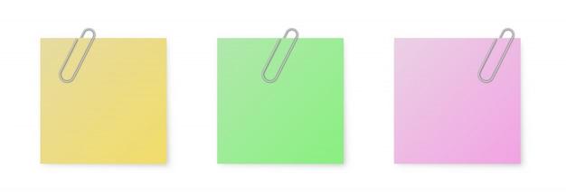 Conjunto de papéis de nota de cor