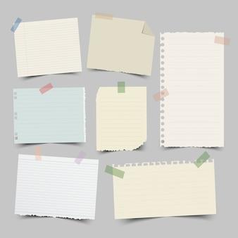 Conjunto de papéis de nota diferentes