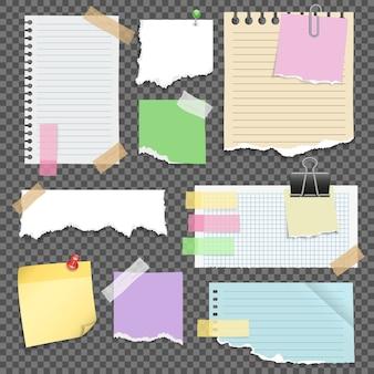 Conjunto de papéis de nota