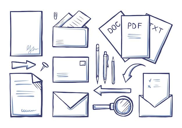 Conjunto de papéis e documentos de material de escritório