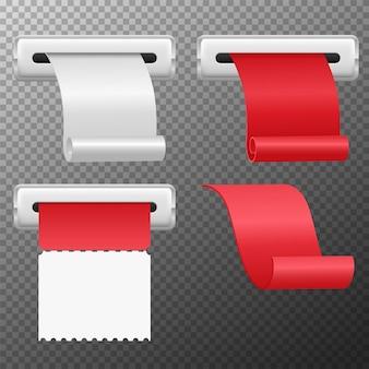 Conjunto de papéis enrolados de recibos realistas isolados em transparente