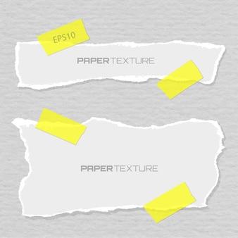 Conjunto de papéis rasgados anexados emplastros, design de materiais