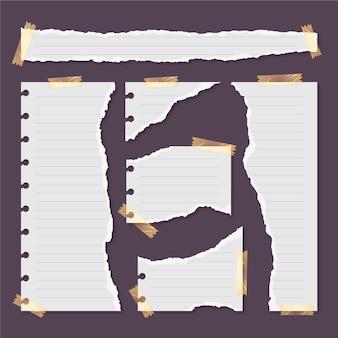Conjunto de papéis rasgados com fita adesiva