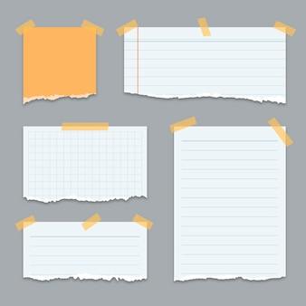 Conjunto de papéis rasgados de diferentes formas com fita adesiva