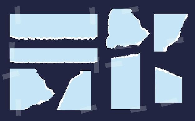 Conjunto de papel azul rasgado de diferentes formas com fita adesiva em branco modelos de papel rasgado com fray ...
