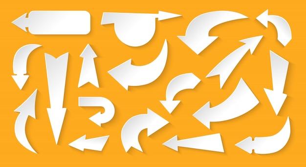 Conjunto de papel branco de várias direções de seta. sinal do cursor. símbolo diferente para cima, esquerda, direita, baixo