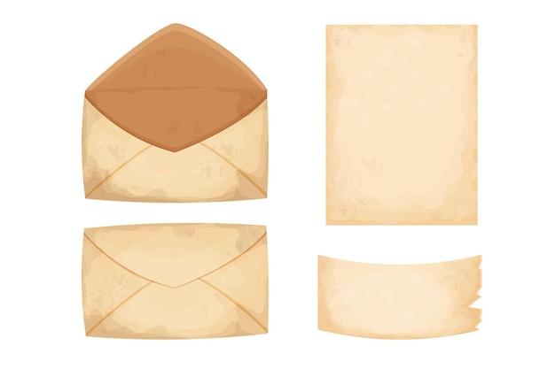 Conjunto de papel carta envelope e um pedaço de pergaminho vintage em estilo cartoon