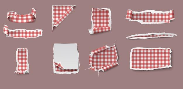 Conjunto de papel colorido rasgado e irregular de diferentes formas com padrão de toalha de mesa de algodão isolado