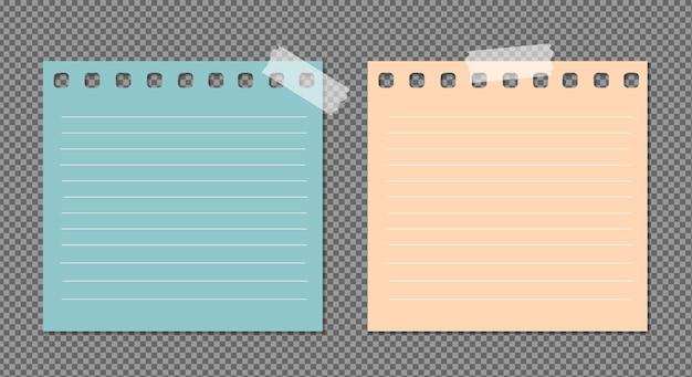 Conjunto de papel com sombras, página de papel realista.