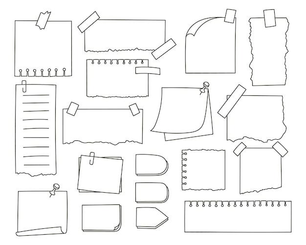 Conjunto de papel de anotação desenhado à mão com ilustração de adesivos e alfinetes