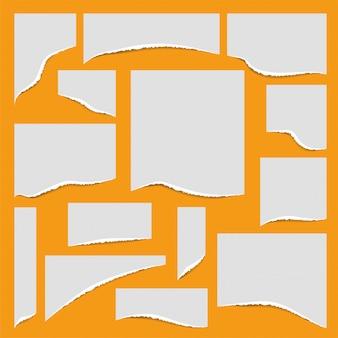 Conjunto de papel de bordas rasgadas. ilustração.