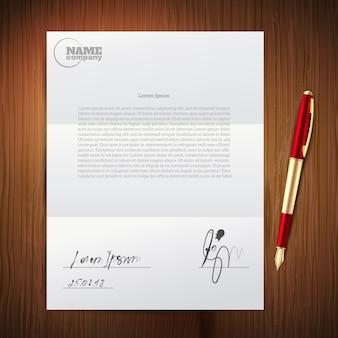 Conjunto de papel de caneta de negócios