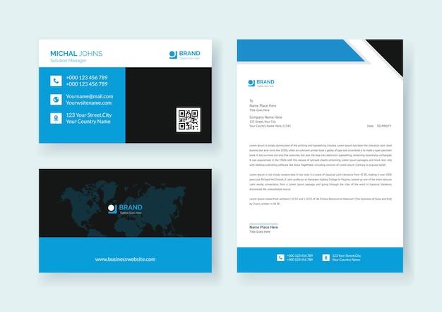 Conjunto de papel de carta de identidade de marca vetor premium