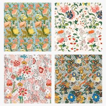 Conjunto de papel de parede com padrão floral vintage
