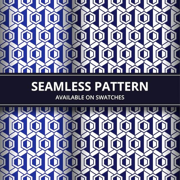 Conjunto de papel de parede de fundo geométrico padrão sem emenda na cor azul