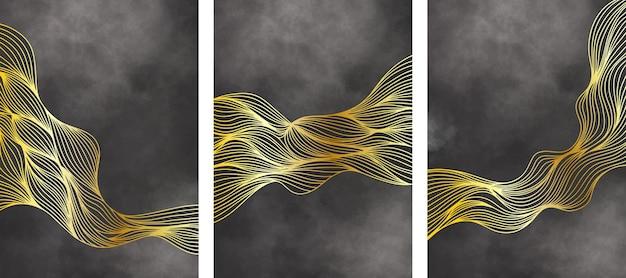 Conjunto de papel de parede dourado de luxo. fundo abstrato com ondas douradas e textura aquarela preta.