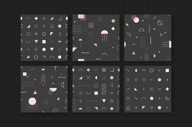 Conjunto de papel de parede preto com padrão memphis