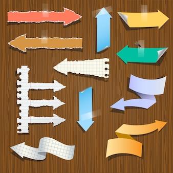 Conjunto de papel de setas