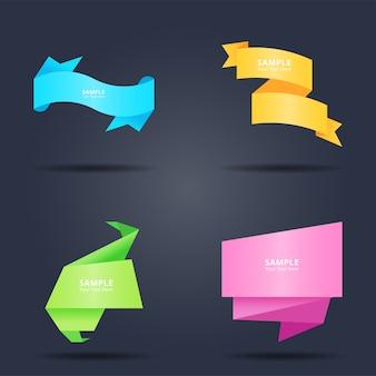 Conjunto de papel origami colorido abstrato