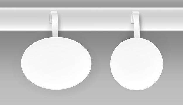 Conjunto de papel oval redondo branco em branco publicidade de plástico wobbler vista frontal isolada no fundo