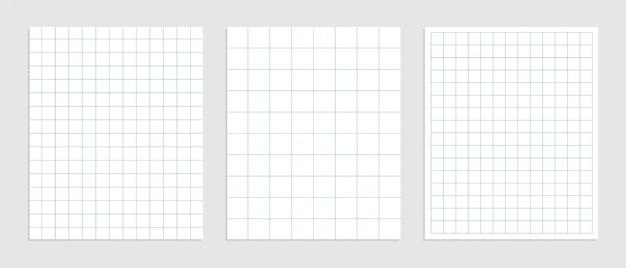 Conjunto de papel quadrado de matemática em vários tamanhos