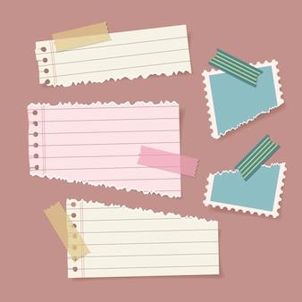 Conjunto de papel rasgado com fita adesiva Vetor Premium