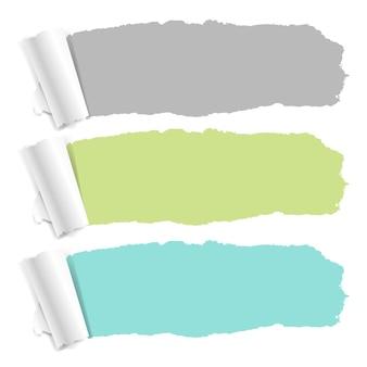 Conjunto de papel rasgado de cor pastel