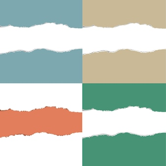 Conjunto de papel rasgado de cor