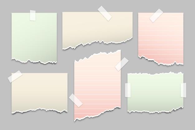 Conjunto de papel rasgado de estilo realista