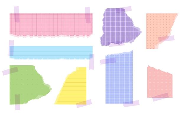 Conjunto de papel rasgado de várias cores e formas com fita adesiva pedaços de pedaços de página rasgada com folha de modelos de borda esfarrapada com ilustração vetorial de nota de memorando de padrões lineares quadrados pontilhados ou de grade