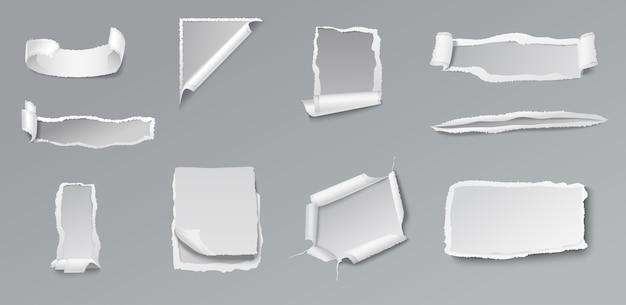 Conjunto de papel rasgado em branco de diferentes formas e formas em cinza