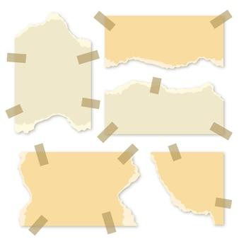 Conjunto de papel rasgado em diferentes formas